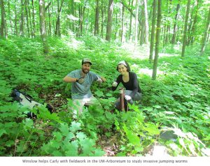 Photo of Winslow and Carly earthworm research