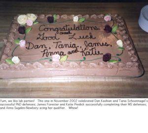 Photo of fall 2002 congrats cake