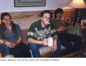 Photo of James with kazoo
