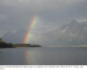 Photo of Mount Moran with rainbow