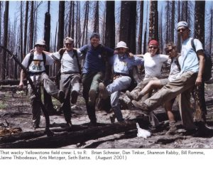 Photo of Yellowstone field crew 2001